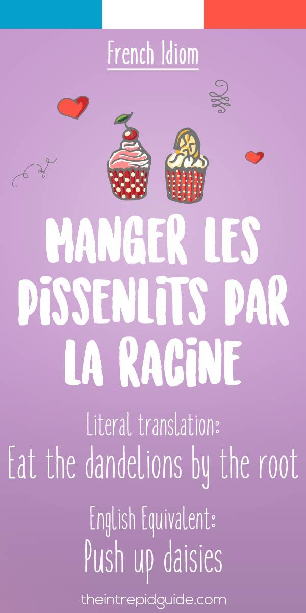 French idiom Manger les pissenlits par la racine