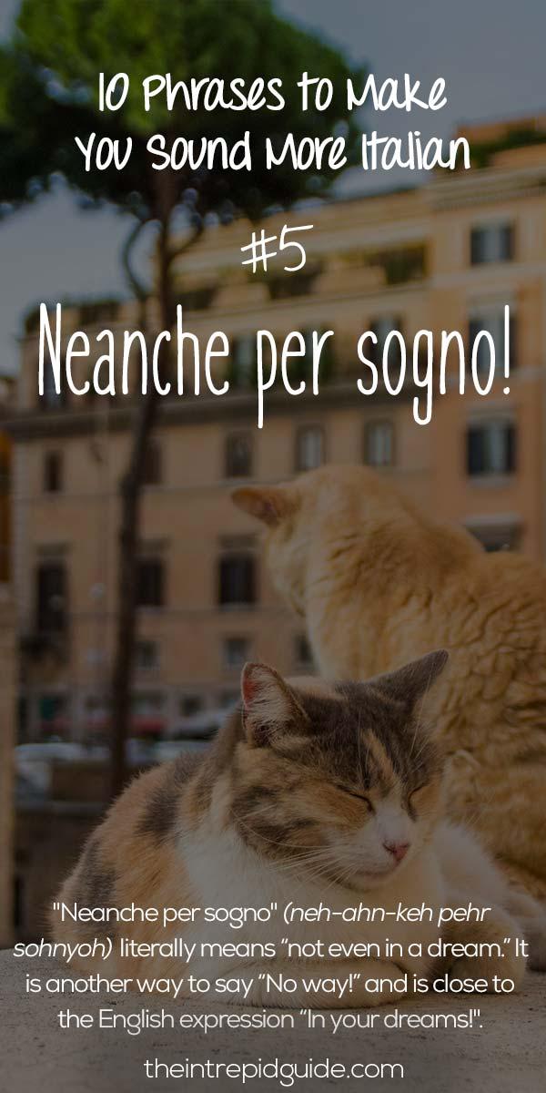 Italian Phrases Neanche per sogno