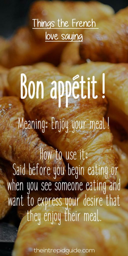 French expressions Bon appetit