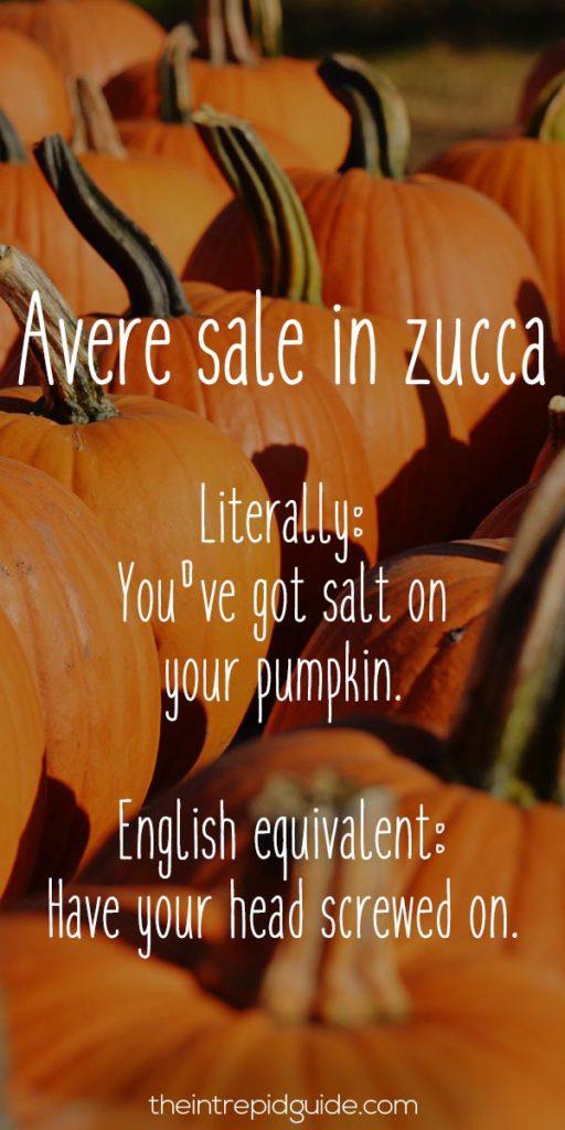 Italian Sayings Avere sale in zucca