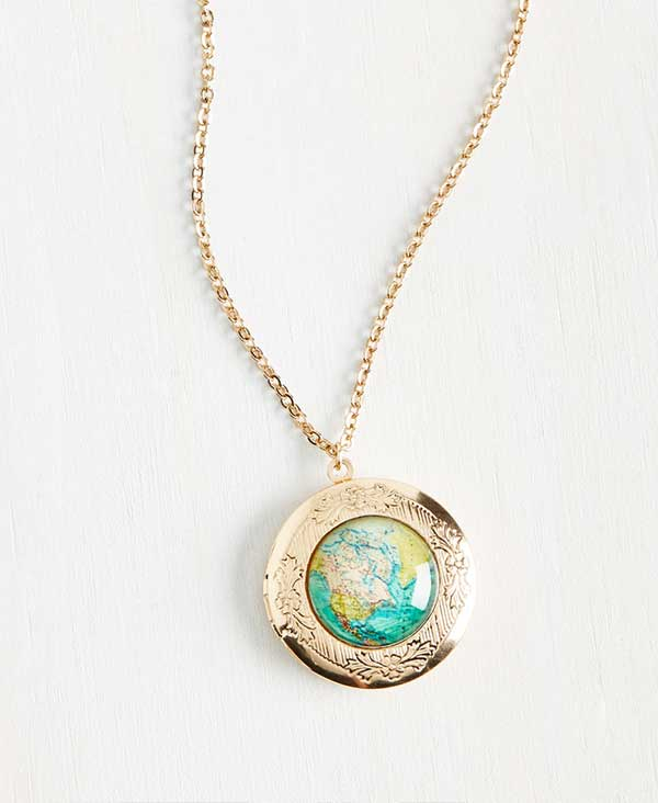 map travel necklace