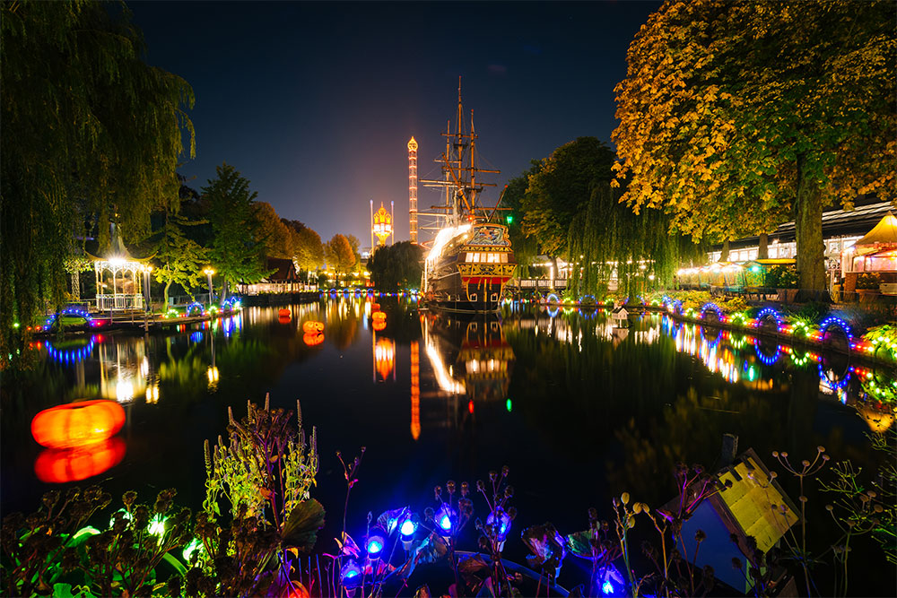 Colourful Tivoli Gardens in Copenhagen at night