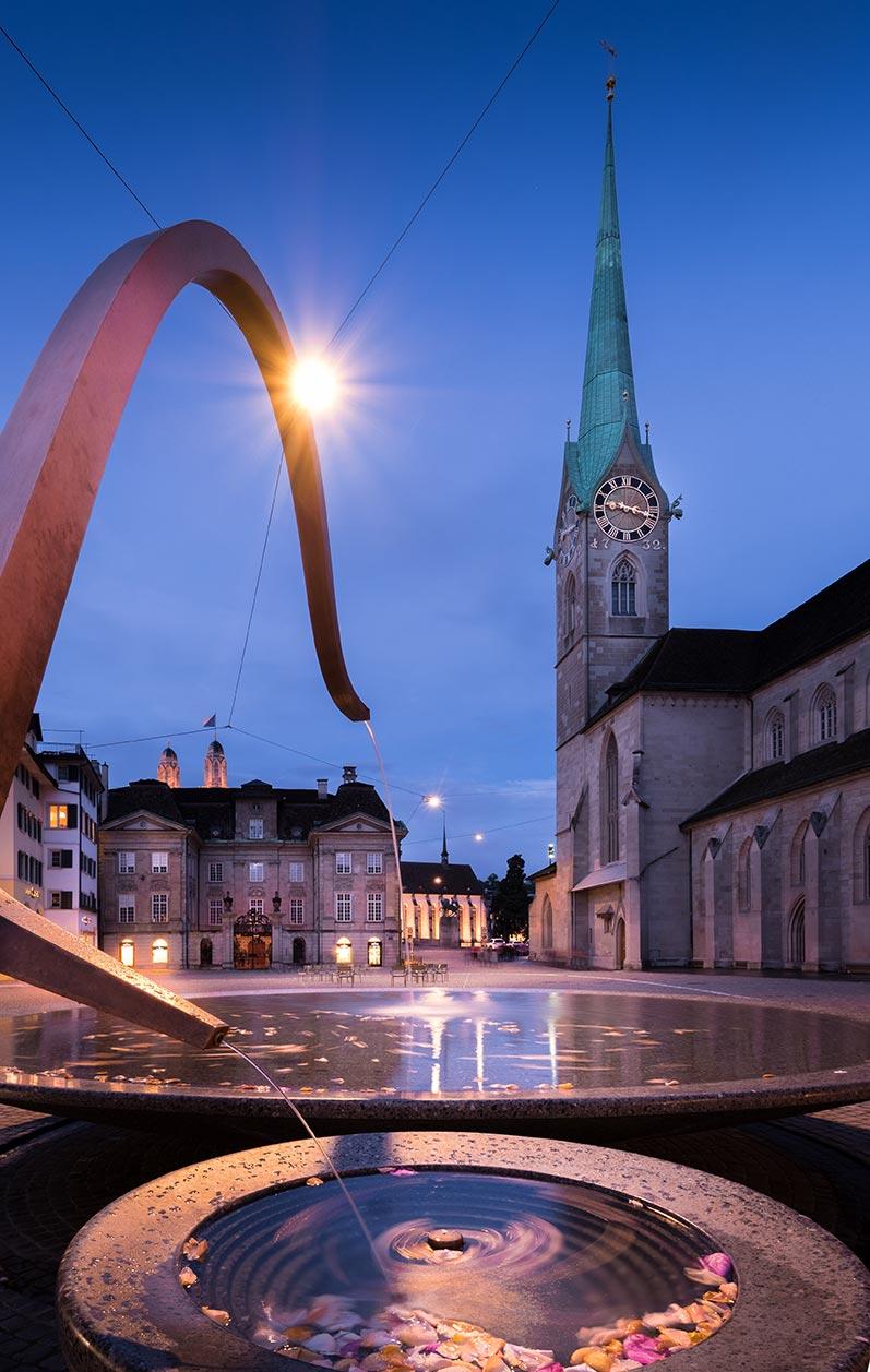 Things to do in Zurich - Fraumunster at night Zurich