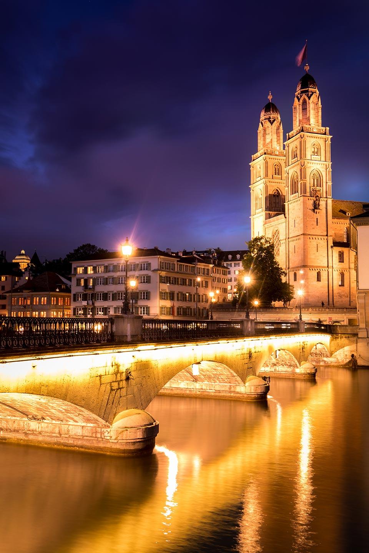 Grossmunster sunset Zurich